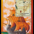 Sailing ship and map of South America — Stock Photo