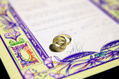 Ketubah - marriage contract in jewish religious tradition — Stock Photo