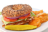 Turkey Bagel Sandwich — Stock Photo