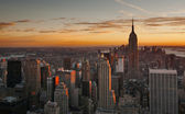 Midtown Manhattan skyline at sunset — Stock Photo