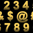 Gold Numbers & Punctuation — Stock Photo