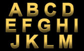 Gold Alphabet Letters A- M — Stock Photo
