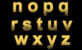 Gold Letters Lowercase n-z — Stock Photo
