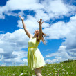 Happy girl in yellow dress — Stock Photo