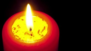 Red candle burning, timelapse. With copyspace for text. — Stock Video