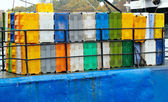 Containers on the cargo ship. — Stock Photo