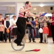 Clown riding a unicycle in Akvamarine circus. — Stock Video