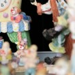Different shots of the clown statuettes in Akvamarine circus. Many figurines. — Stock Video