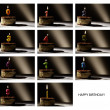 Royalty-Free Stock Photo: Collage of birthday candles with numbers from 0 to 9.