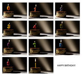 Collage of birthday candles with numbers from 0 to 9. — Stock Photo