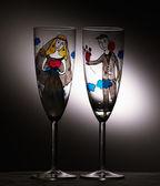 Empty wedding champagne glasses. Vintage. — Stock Photo