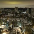 Stock Video: City timelapse at night. Moscow, aerial view. Wide shot, high angle