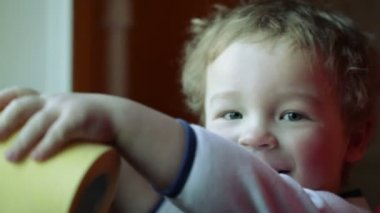Happy kid's smile. Close up — Vídeo Stock