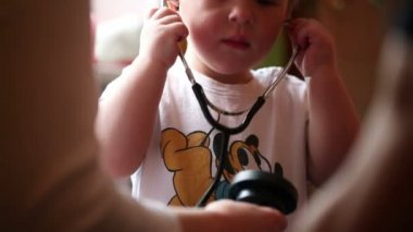 Little boy with stethoscope — Stock Video