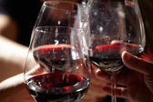 Three red wine glasses. — Stock Photo