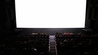 Empty screen in cinema. Wide shot. — Stock Video