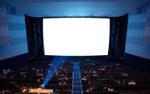 Cinema auditorium with light of projector. — Stock Photo