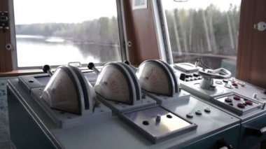 Boat interior with control panel instruments — Stock video