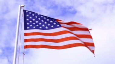 USA flag waving in the wind — Stock Video