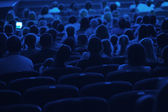 Audience in the cinema. Silhouette. — Stock Photo