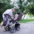 Grandmother walking with her grandson in a baby stroller — Stock Video #28696141