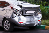 Big dent on car — Stock Photo