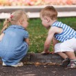 Little friends boy and girl — Stock Photo