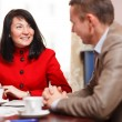 Businesswoman in a meeting with a colleague — Stock Photo