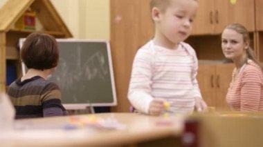 Little boy in the nursery. — Stock Video