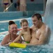 Grandmother And Granfather With Her Grandson In The Swimming Pool — Stock Video