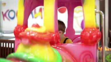 Cute little boy in a fairground — Stock Video