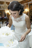 Smiling beautiful bride cutting the wedding cake — Stock Photo