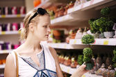 Attractive woman choosing potted plants — Stock Photo