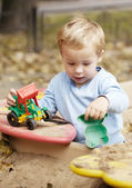 Boy playing with toy outdoor. — Stock Photo