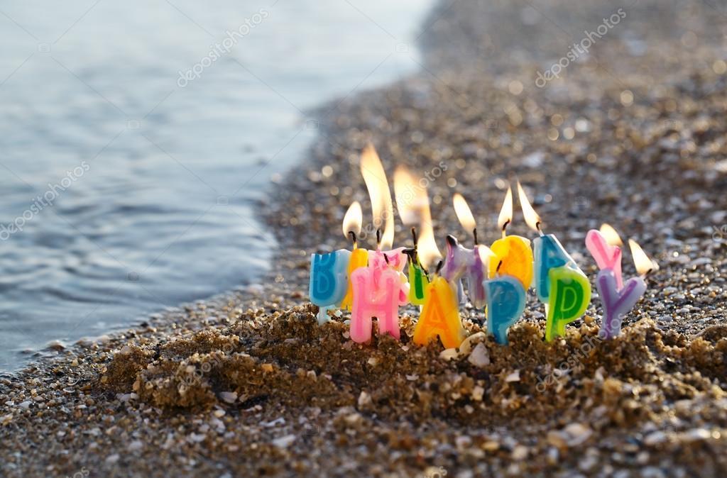 Поздравление с днем рождения на песке