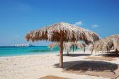 Straw beach umbrellas at a tropical resort — Stock Photo