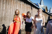 Bride and her bridesmaid walking with friends — Stock Photo