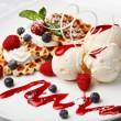 Vanilla ice cream and waffles with fresh berries — Stock Photo #44711803