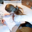 Young architects working with map and blueprint — Stock Photo #48781839