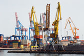 Industrial cranes and cargo on a quay — Stock Photo