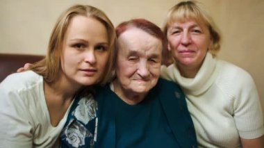 Three women of different age — Стоковое видео