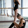 Two young ballet dancers in the studio during the  break — Stock Photo #49234889