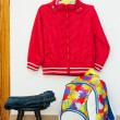 Children&amp;#039;s clothes, backpack, shoes - Stock Photo