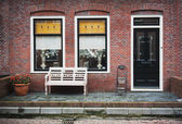 Facade of red brick home — Stock Photo