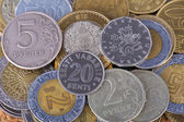 Coins from different countries — Stock Photo