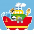 Stock Vector: Boat with animals