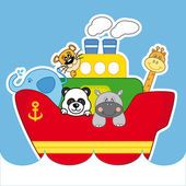 Boat with animals — Vector de stock