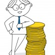 Lucky man with a stack of coins — Stock Vector #12735198