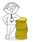 Lucky man with a stack of coins — Stock Vector