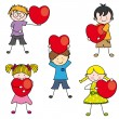 Group of children with a heart — Stock Vector